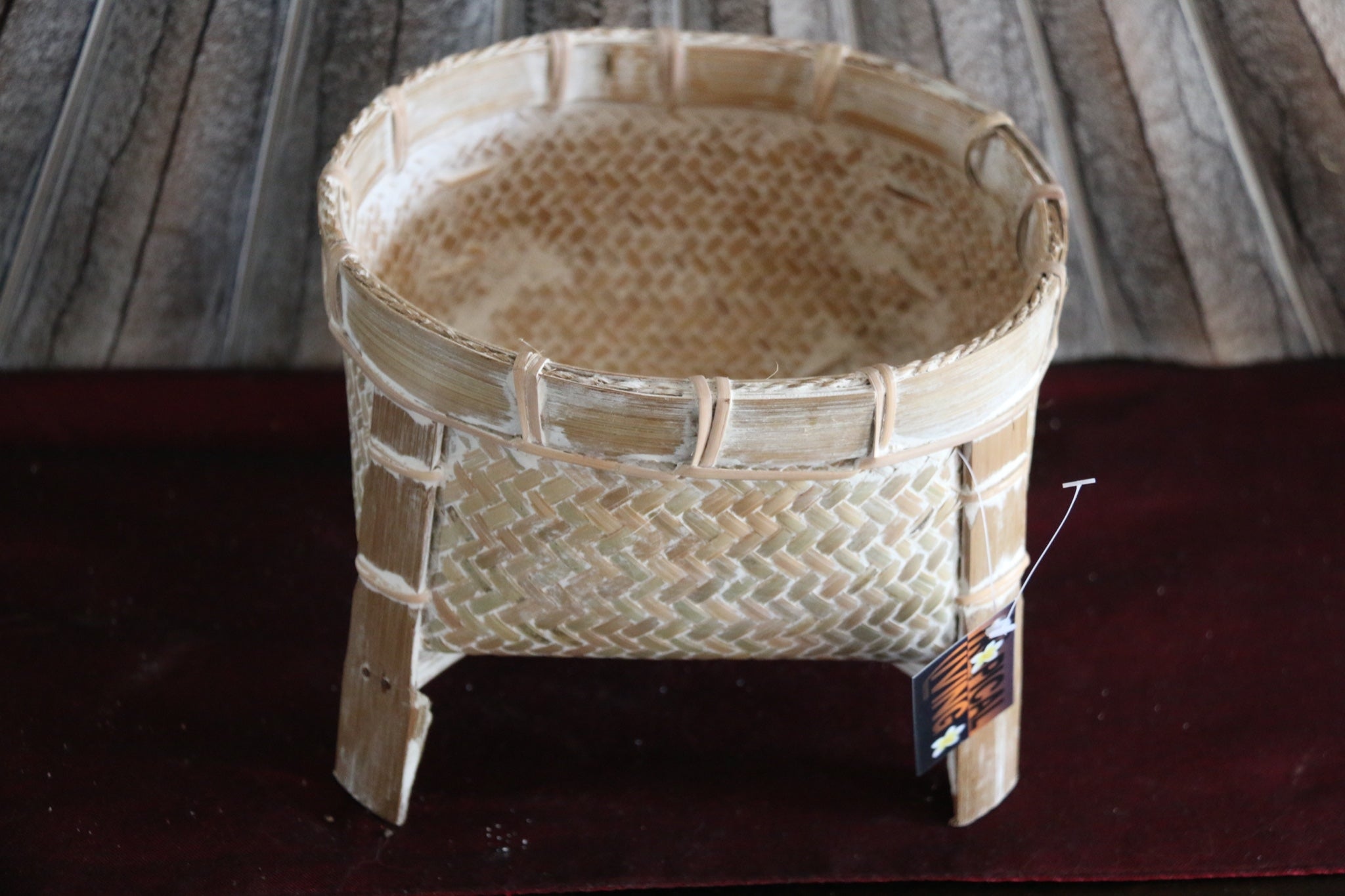 NEW BALINESE HAND WOVEN CANE OPEN BASKET ON LEGS - Small