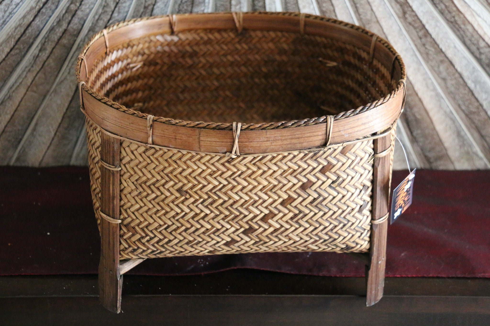 NEW BALINESE HAND WOVEN CANE OPEN BASKET ON LEGS - X Large