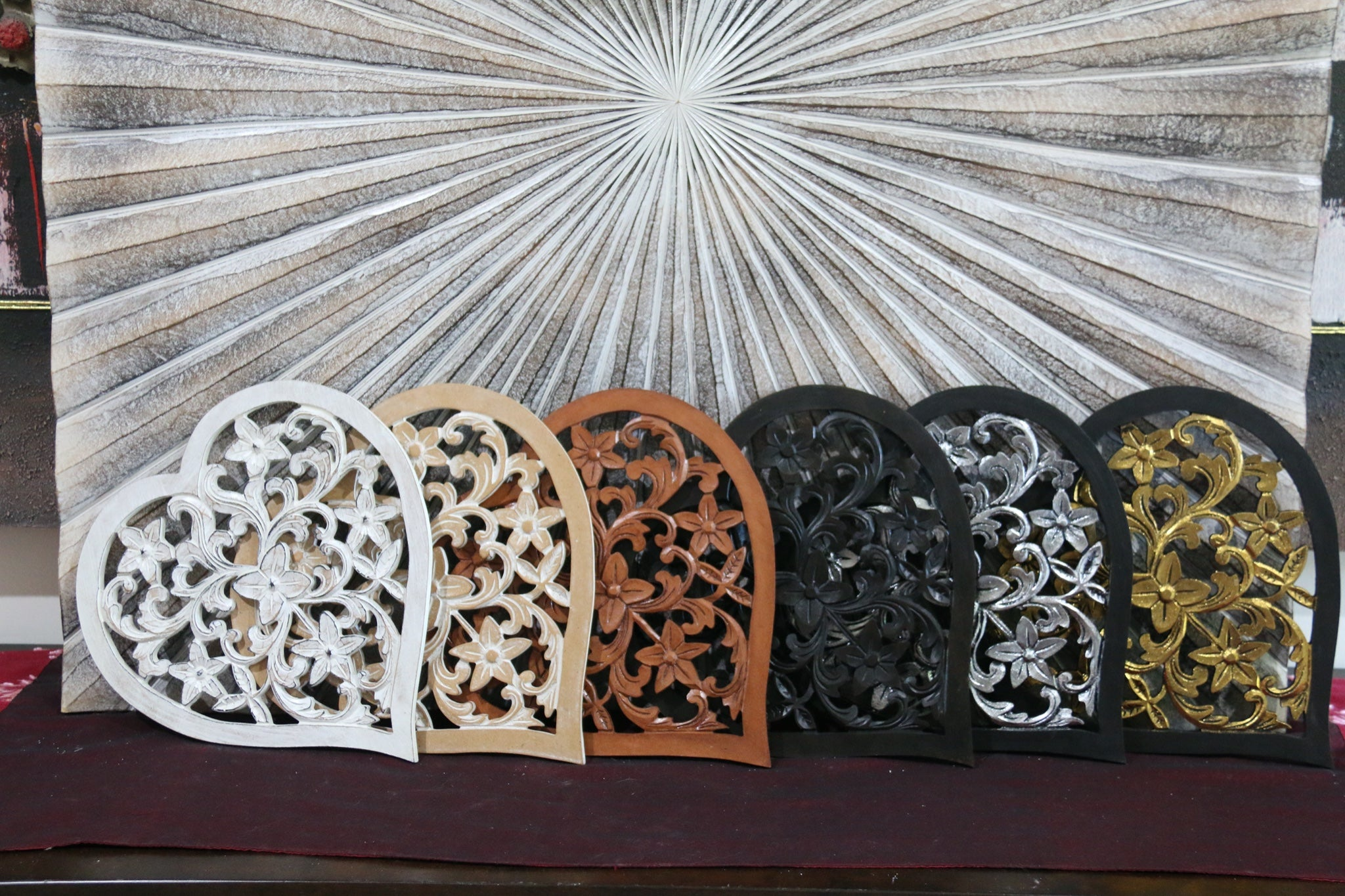 Balinese Hand Carved MDF Mandala Love Heart Wall Panel 6 Colours!!