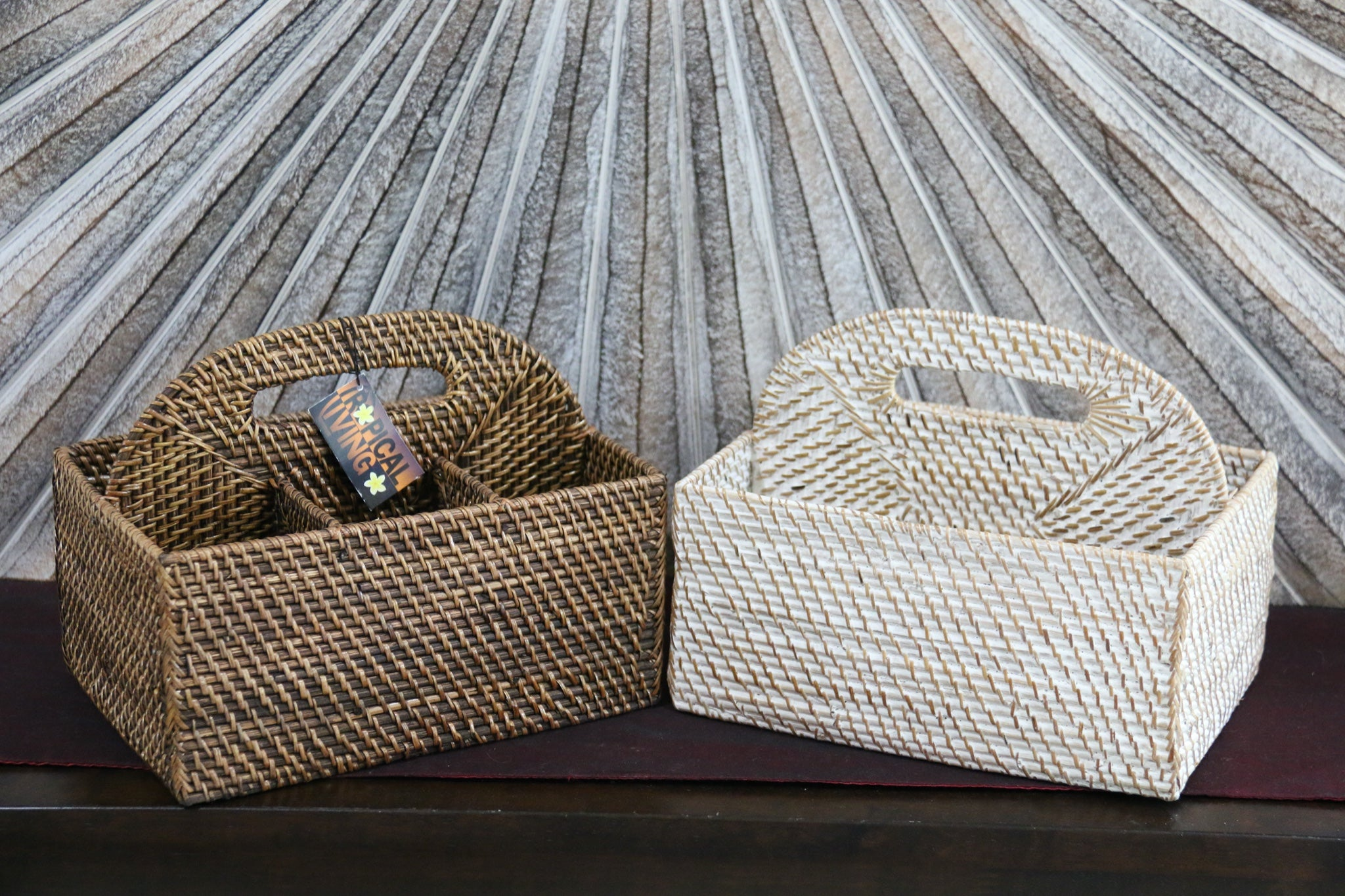 NEW Balinese Woven Rattan Condiments Holder / Storage Basket - 2 colours