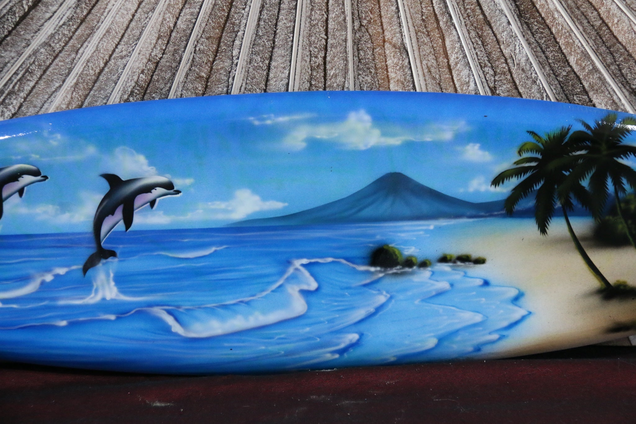 NEW Bali Handmade Air Brushed Surfboard Wall Decor 80cm - Bali Surfboard Art