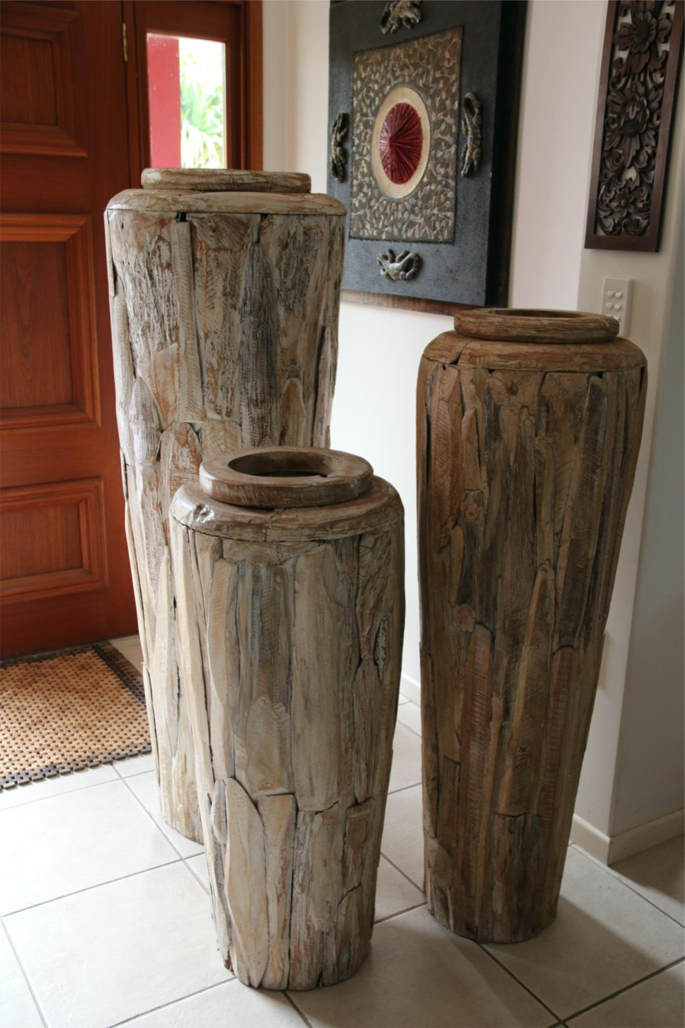 NEW BALINESE HAND CRAFTED TEAK WOOD Floor Pot Choose from Small, Medium or Large