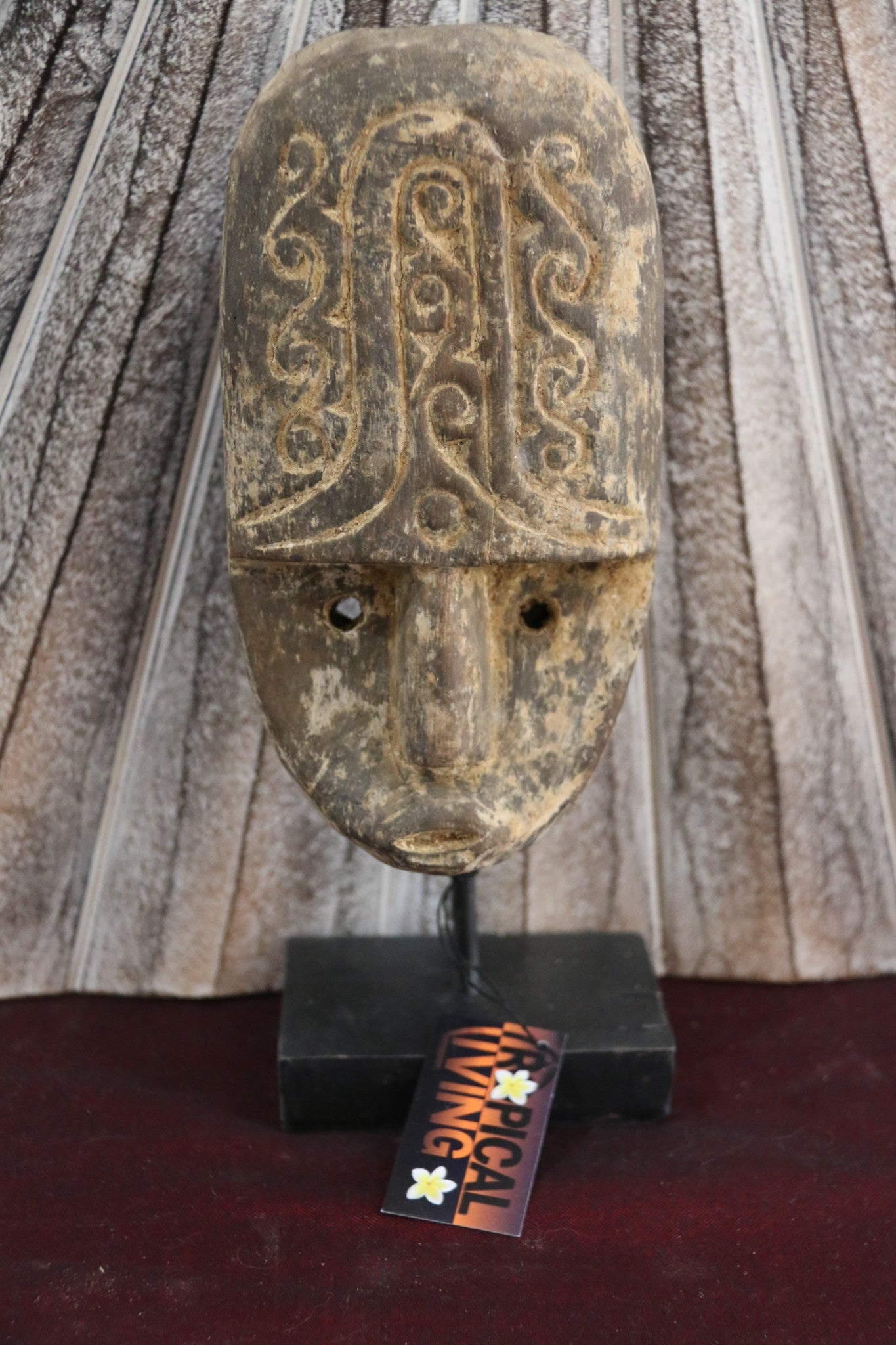 NEW Indonesian Hand Carved Primitive Wooden Sumba Mask on Stand - TIMOR ART