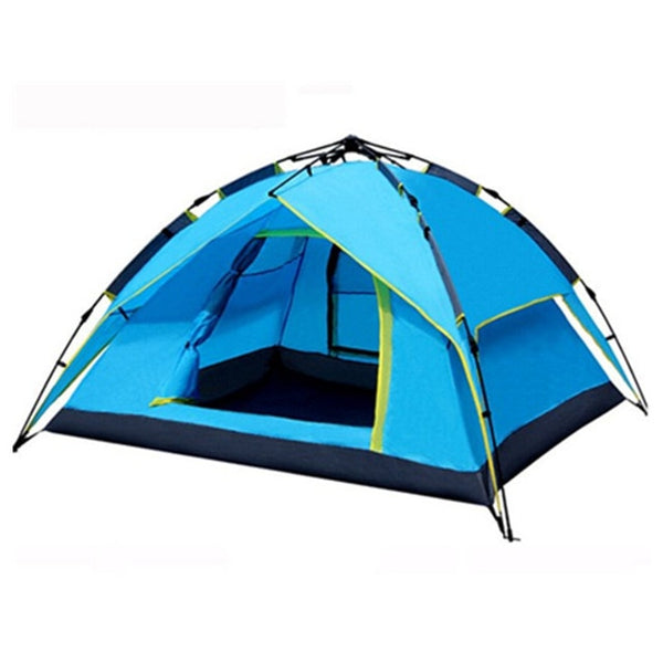 3-4 Person Hydraulic, Automatic Camping Tent with Double Layers | Instant Setup Outdoor Family Tent Portable Tent for Hiking