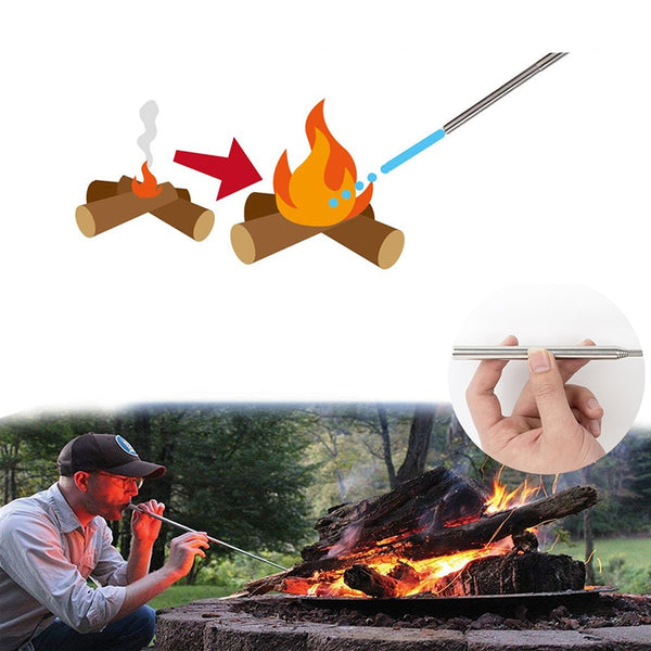 Portable Stove Fire Starter | Outdoor Cooking Survival Tool | Retractable Camping Blowpipe Fire Tube Emergency Tools