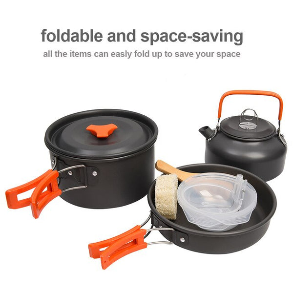 Outdoor Camping Cookware Set | Ultralight Tableware Cooking Stove Kit for Travel, Hiking, Picnic & Camping Tools