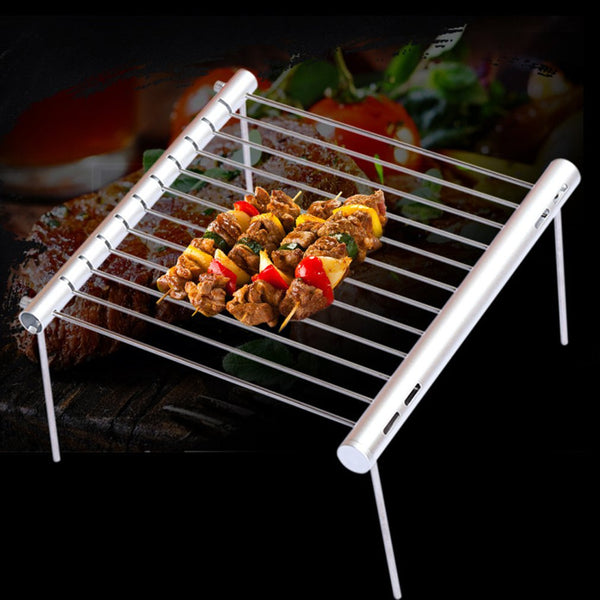 OUTAD Outdoor Stainless Steel Collapsible Shrink Mini Barbecue Stand | Portable Outdoor Barbecue Tool