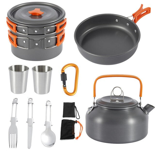 Outdoor Camping Cookware Kit | Tableware Cooking Stove Kit | Hiking, Picnic & Camping Tools for 1-2 Person