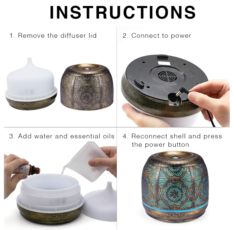 Bronze Metal Essential Oil Diffuser for Home, Office, and Yoga Studio