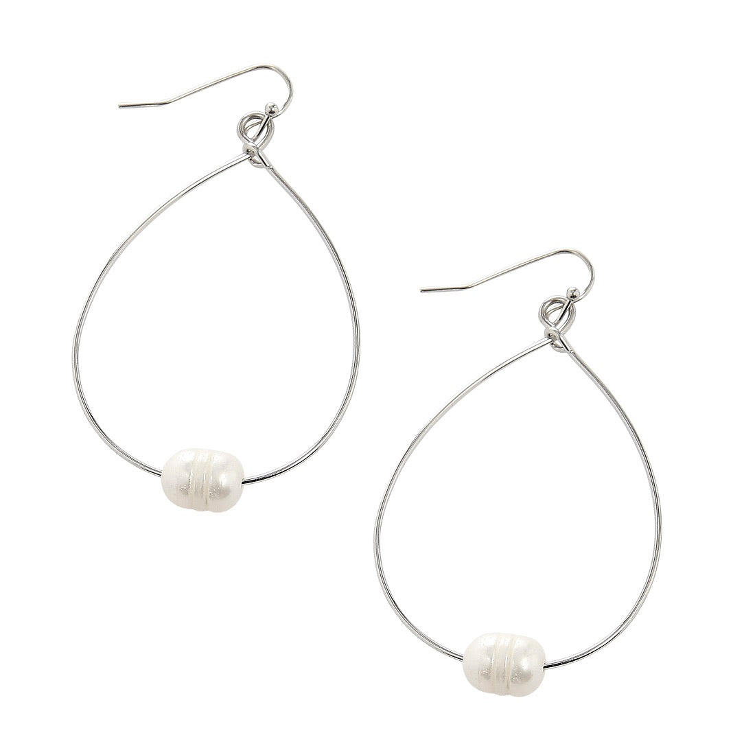 Freshwater Pearl Teardrop Hoop Earrings
