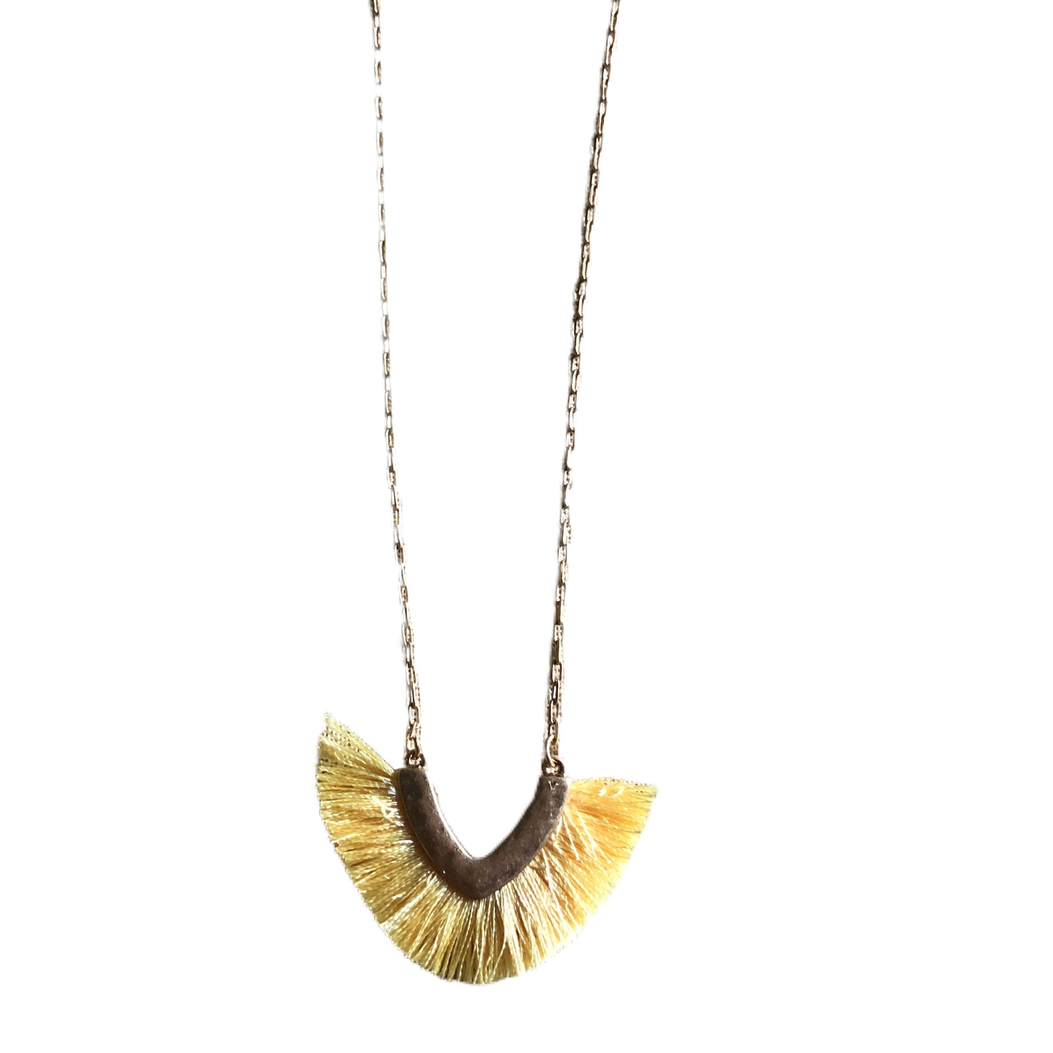 Yellow Tassel Fabric Necklace