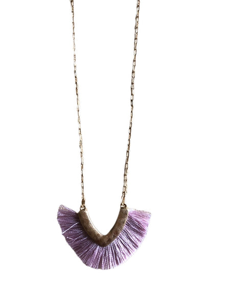Purple Tassel Fabric Necklace