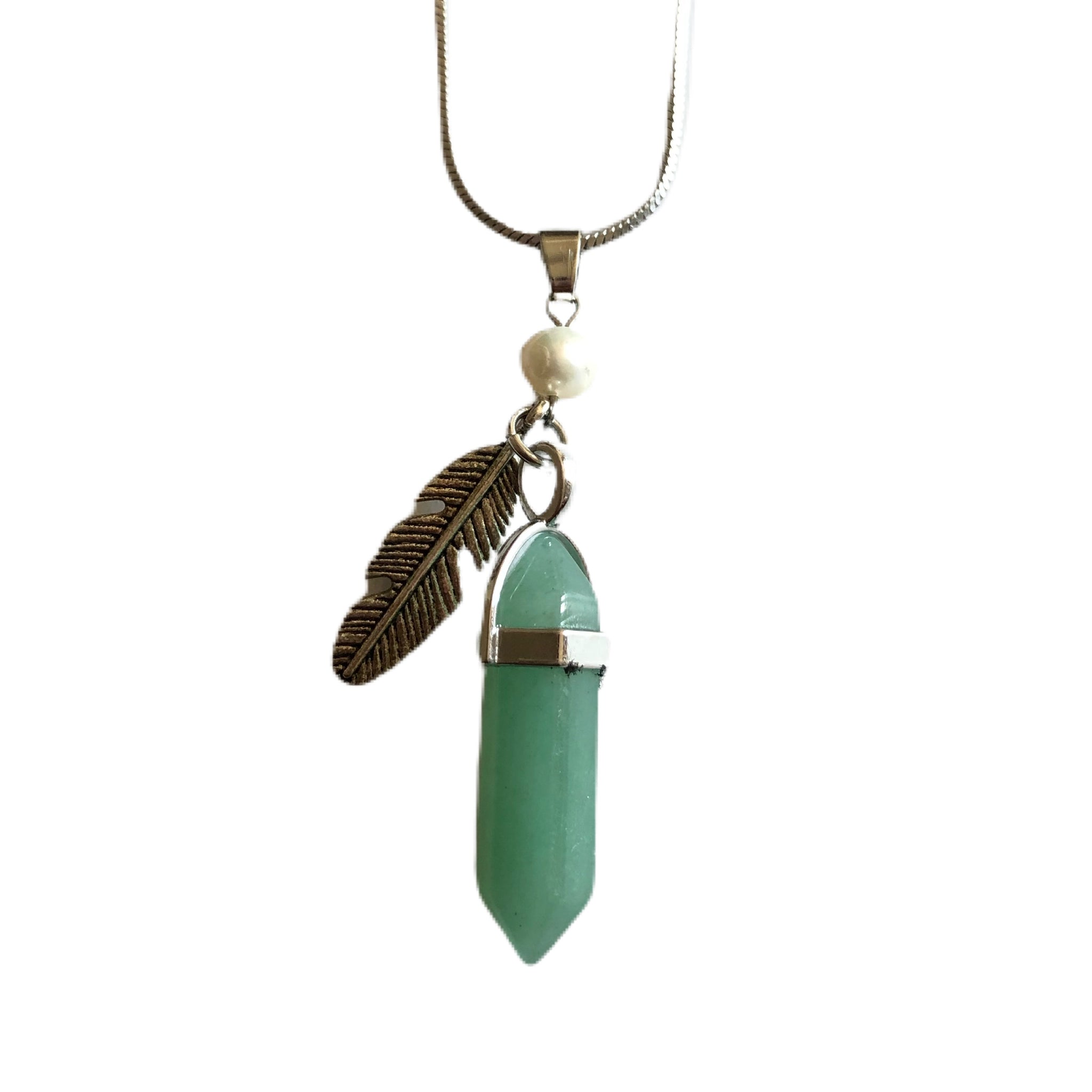 Green Natural Stone Feather Necklace