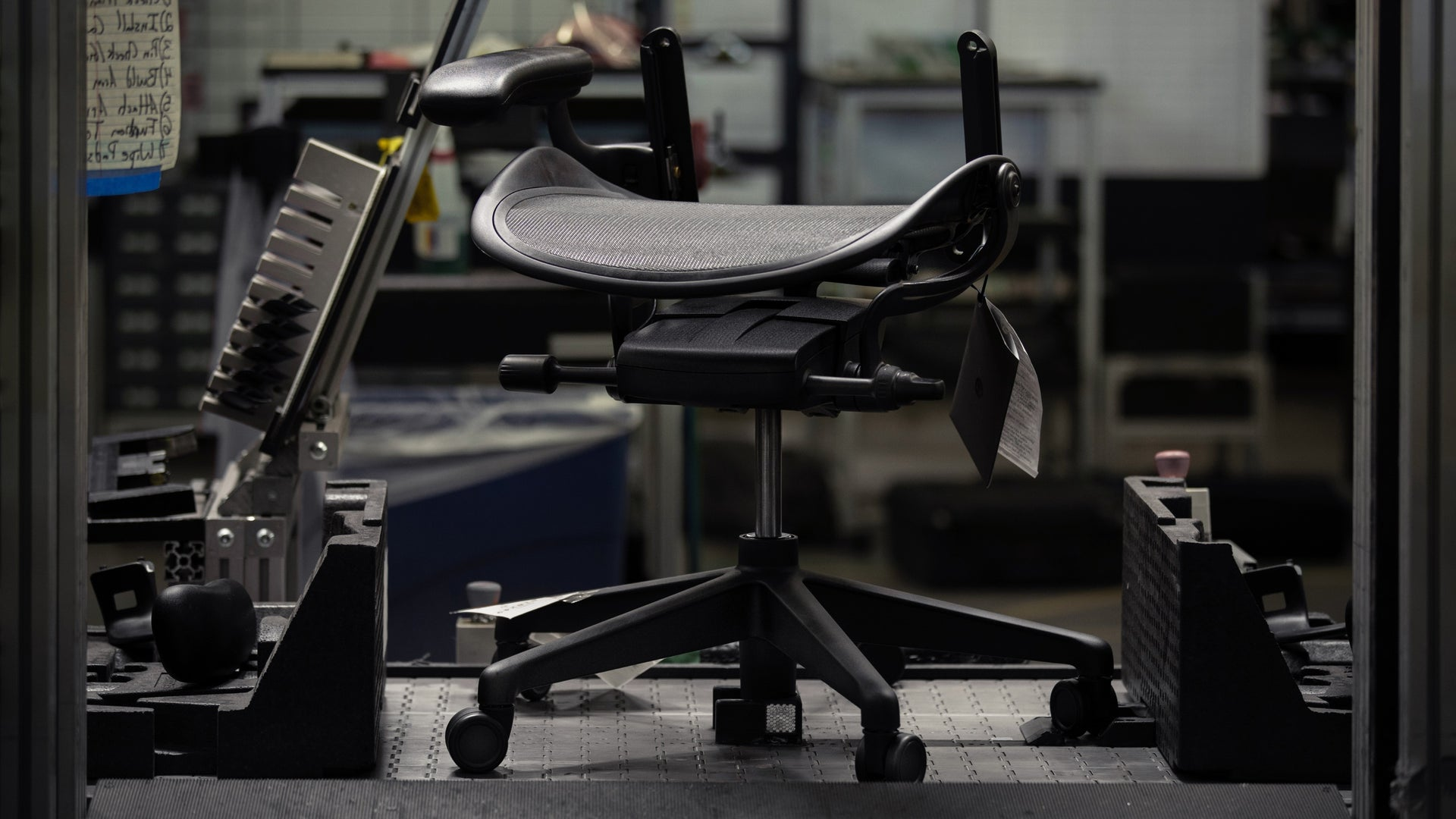 A shot of the Aeron Chair in the Herman Miller test lab, where it is rigorously tested to back its 12-year warranty.