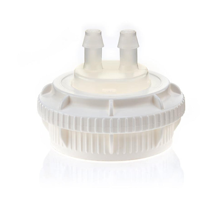 "EZBio® GL45 Open Cap & Molded 2x 1/4"" HB, White PP for Glass Bottles"