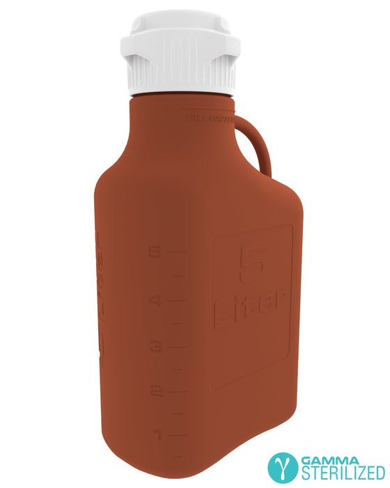 EZBio® 5L (1 GAL) Amber HDPE Carboy with VersaCap® 83B, Double Bagged, Gamma Sterilized