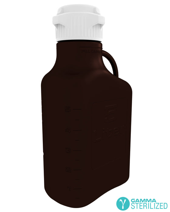 EZBio® 5L (1 GAL) Dark Amber PP Carboy with VersaCap® 83B, Double Bagged, Gamma Sterilized