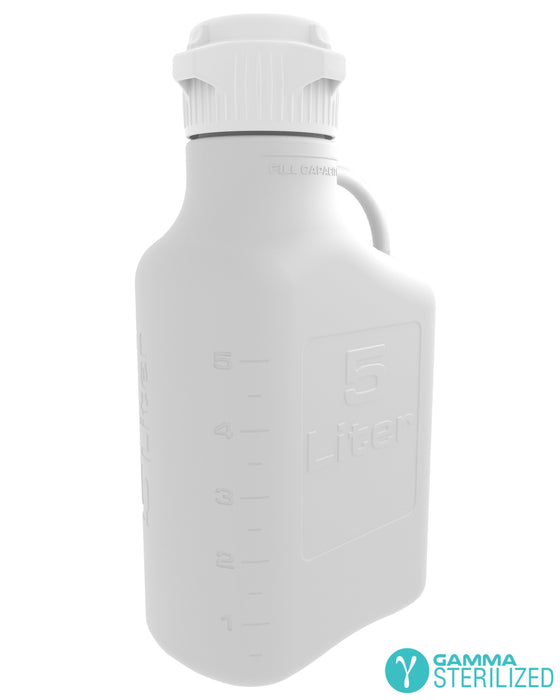EZBio® 5L (1 GAL) HDPE Carboy with VersaCap® 83B, Double Bagged, Gamma Sterilized