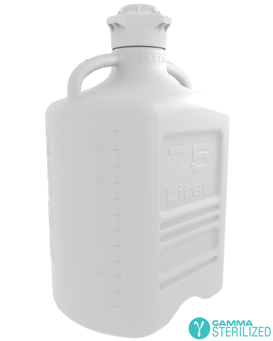 EZBio® 75L (20GAL) PP Carboy with VersaCap® 120mm, Double Bagged, Gamma Sterilized