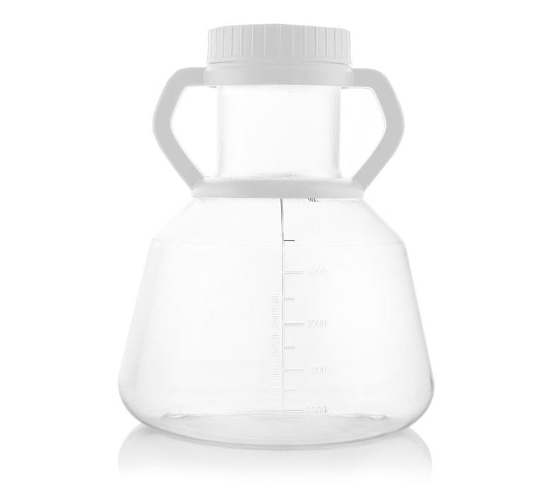 EZBio® 5L Erlenmeyer PC Flasks - 90mm Vented Cap w/Handle - Sterilized - 4/CS