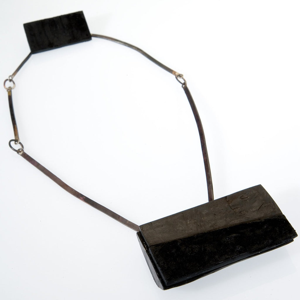 Black Ebony Silver Necklace,  Contemporary wood jewelry by Israeli maker Dina Abargil at the Center for Art in Wood