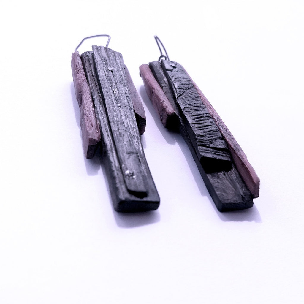 Purple Heart and Silver Earrings, Contemporary wood jewelry by Israeli maker Dina Abargil at the Center for Art in Wood