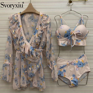 Svoryxiu High Waist Bikini Three Piece Swimsuit