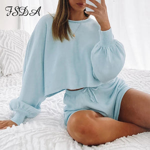 FSDA O Neck Long Sleeve Loose Shirt Top Women Set And Shorts Knit Casual Summer Loose Two Piece Sets White Outfits