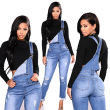Load image into Gallery viewer, Denim Overalls Ripped Jeans High Waist Jumper Blue Vintage