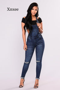 Denim Overalls Ripped Jeans High Waist Jumper Blue Vintage