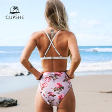 Load image into Gallery viewer, CUPSHE White and Pink Floral Scalloped High-waist 2-Piece Bikini Set