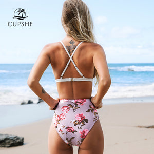 CUPSHE White and Pink Floral Scalloped High-waist 2-Piece Bikini Set