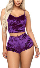 Load image into Gallery viewer, Sexy Velvet 2 Piece Pajama Set Spaghetti Strap Crop Top Camisole and Shorts Sleepwear