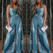 Load image into Gallery viewer, Blue Elegant Women High Waist Jumpsuit  Bell-Bottomed Pants
