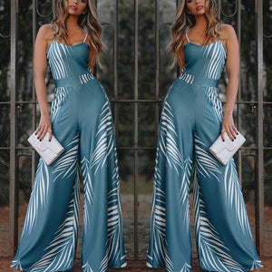 Blue Elegant Women High Waist Jumpsuit  Bell-Bottomed Pants