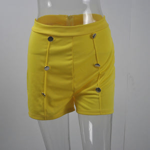 European And American-Style High-Waisted-Button Zipper Shorts