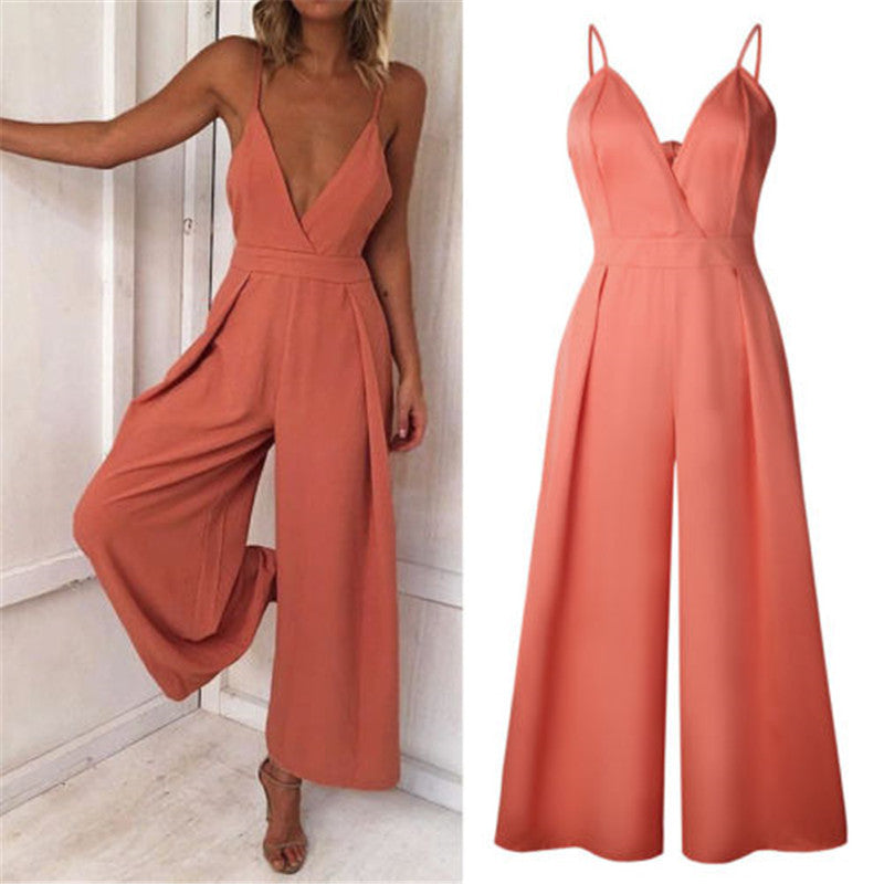 Summer Women Sexy Loose Elegant Party Rompers Backless