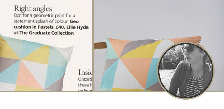 GEO CUSHION IN PASTEL - HOUSE BEAUTIFUL