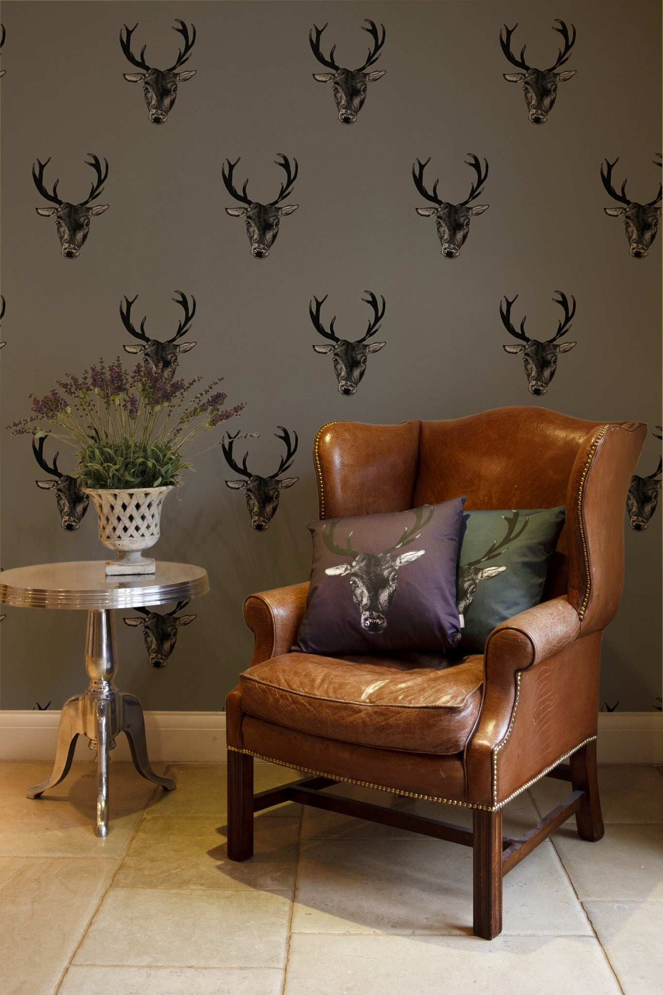 Stag Print Wallpaper Grey Graduate Collection Graduate