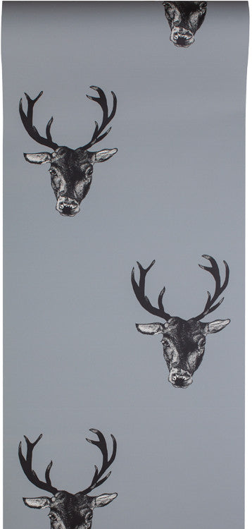 stag print wallpaper grey
