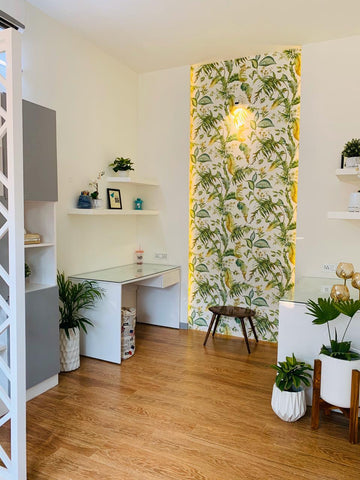 Office space decorated with plants and planters