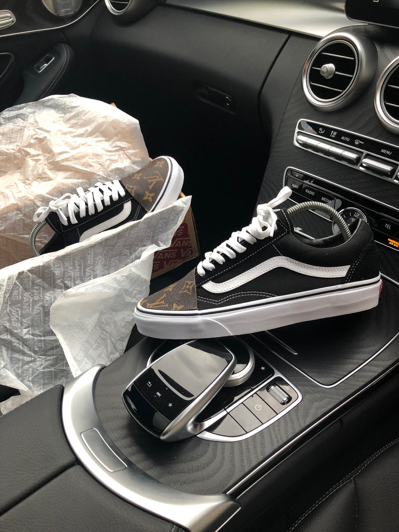 Old Skool Vans • Black | Brown • Monogram (front only)