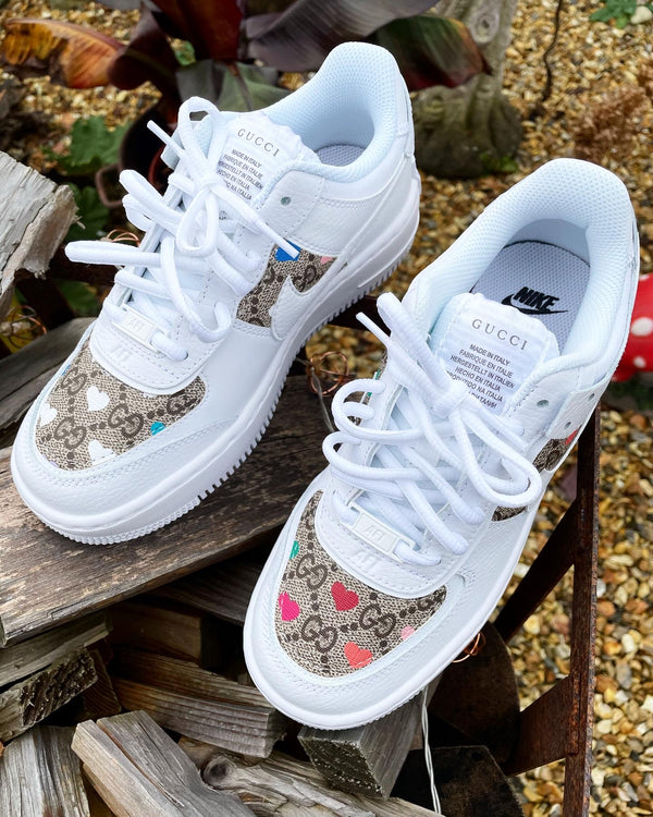 Nike Air Force 1 Shadow | White • Multi Color Hearts • GG