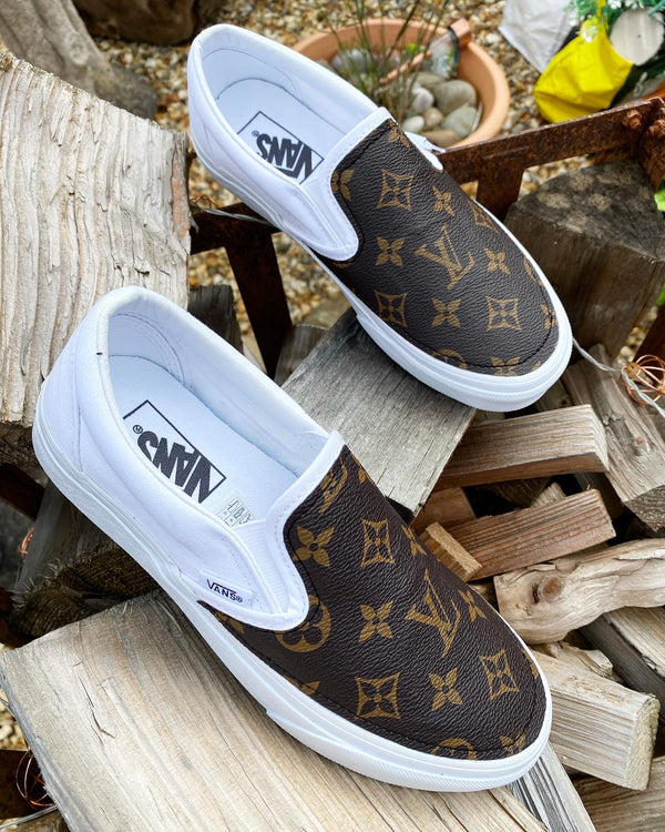 Slip On Vans • White | Brown Monogram