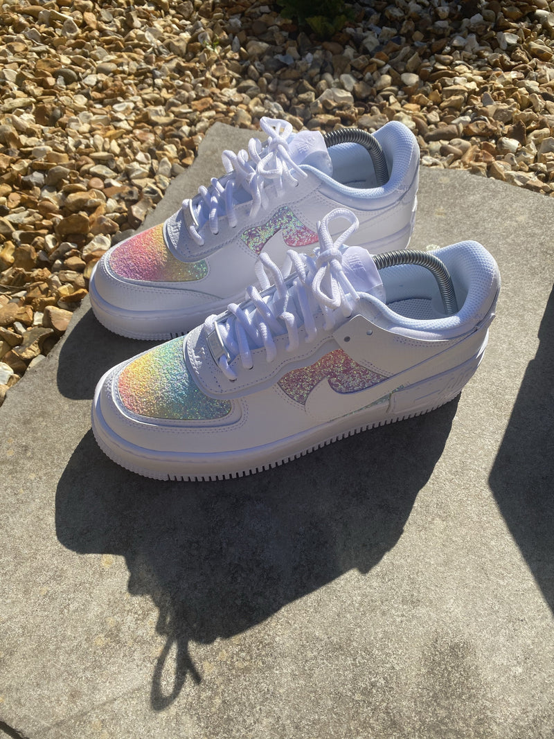 Multi Colour Gradient Glitter White AF1 Shadow