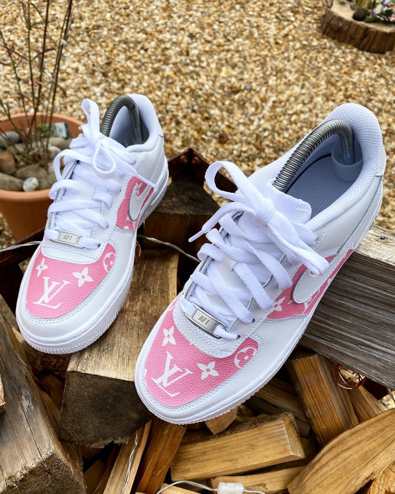 Pink Monogram - White Nike Air Force 1 '07 Low