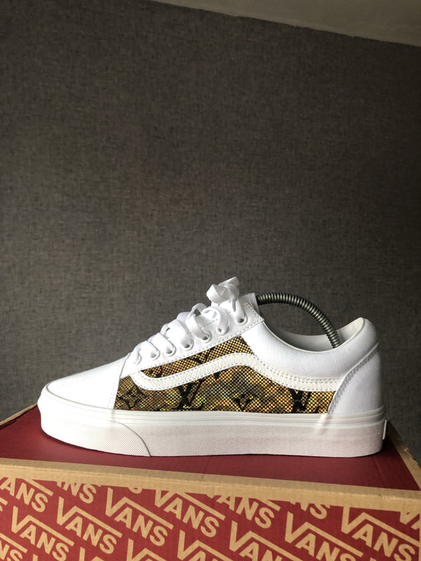 Old Skool Vans • White | Gold • Monogram
