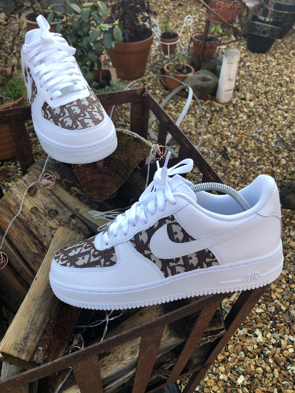 Brown Dior Nike Air Force 1 - White