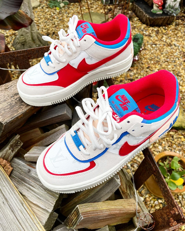Nike Air Force 1 Shadow | Red & Blue • White monogram
