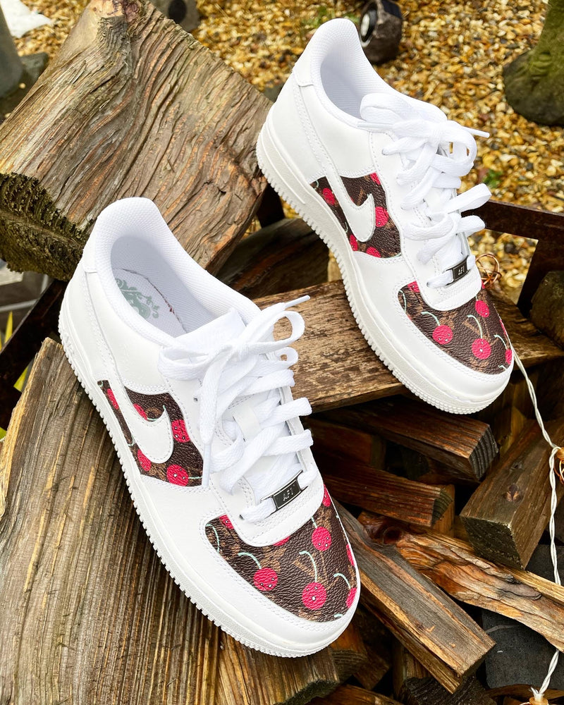 Nike Air Force 1 - White | Cherry • Brown Monogram